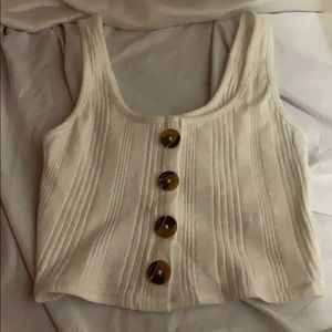 ribbed tight fitted button up tank top from garage